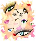 abstrakci różne twarzy część royalty ilustracja