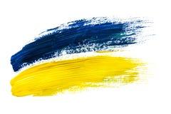 Abstrakcja dla tła, rysujący błękit i żółtą farbę na białym odosobnionym tle, na ogół rama fotografia royalty free