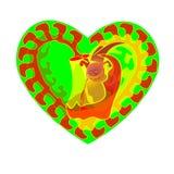 Abstrakcja dla walentynki s dnia Wektorowa dżdżownica Serce zieleń ikona Rama ilustracja Fractal i abstrakcja dżdżownica Zdjęcie Stock