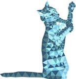 Abstrakcja, kot, kot, zwierzę, wieloboki, niska podłoga i szarość trójbok, rysunek, fantazja, w górę, odizolowywamy, oczy royalty ilustracja