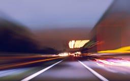 Abstrakcja widok autostrada zamazywał przy prędkością obraz stock