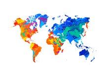 Abstrakcjonistyczna światowa mapa od pluśnięcia akwarele ilustracji