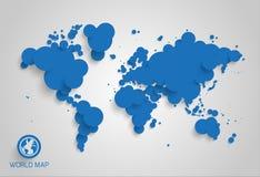Abstrakcjonistyczna światowa mapa robić okręgi ilustracji