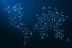 Abstrakcjonistyczna Światowa mapa tworząca od w postaci gwiaździstego nieba, poligonalna wireframe siatka, łączyć linie, i royalty ilustracja
