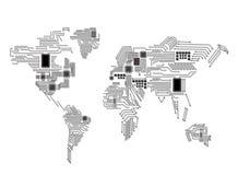 Abstrakcjonistyczna światowa mapa z jednostką centralną gdy tło deska może use tła binarnego kodu ziemi telefonu planety technolo royalty ilustracja