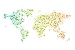 Abstrakcjonistyczna Światowa związek mapa z okręgami, linie Zdjęcia Royalty Free