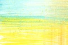 Abstrakcjonistyczna żółtej zieleni i błękita akwareli sztuki ręka maluje na białym tle, akwareli tło Zdjęcia Stock