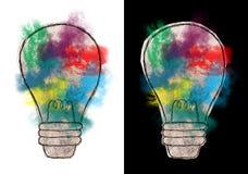 Abstrakcjonistyczna żarówka, pomysły, cele, sukces Obrazy Stock