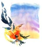 abstrakcjonistyczna akrylowa kwiecista ilustracyjna akwarela Obraz Stock