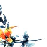 abstrakcjonistyczna akrylowa kwiecista ilustracyjna akwarela Obrazy Royalty Free