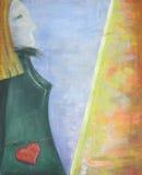 Abstrakcjonistyczna akrylowa obraz sylwetka artysta przy sztalugą Zdjęcie Royalty Free