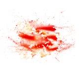 Abstrakcjonistyczna akwarela kleksa tekstury łata czerwień Zdjęcia Stock