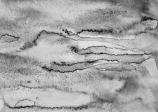 Abstrakcjonistyczna akwarela na papierowej teksturze jako tło W czerni i Fotografia Royalty Free