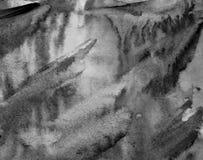 Abstrakcjonistyczna akwarela na papierowej teksturze jako tło W czerni i Obrazy Royalty Free