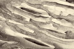 Abstrakcjonistyczna akwarela na papierowej teksturze jako tło W Sepiowej tonie Zdjęcia Royalty Free