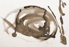 Abstrakcjonistyczna akwarela na papierowej teksturze jako tło W Sepiowej tonie Fotografia Royalty Free