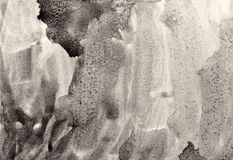 Abstrakcjonistyczna akwarela na papierowej teksturze jako tło W Sepiowej tonie Zdjęcia Stock