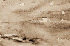 Abstrakcjonistyczna akwarela na papierowej teksturze jako tło W Sepiowej tonie Zdjęcie Royalty Free