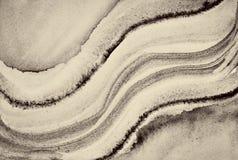 Abstrakcjonistyczna akwarela na papierowej teksturze jako tło W Sepiowej tonie Obrazy Royalty Free