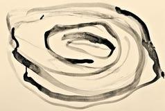 Abstrakcjonistyczna akwarela na papierowej teksturze jako t?o W sepiowy stonowanym styl retro zdjęcie royalty free