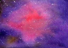 Abstrakcjonistyczna akwarela na papierze Tło mgławica, czerwień, magenta, b Zdjęcie Stock