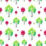 Abstrakcjonistyczna akwareli ilustracja zielony i czerwony Rosyjski brzozy drzewo z splashis odizolowywającymi na białym tle Ręka ilustracja wektor