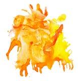 abstrakcjonistyczna akwareli plama z pluśnięciami i kroplami Obrazy Royalty Free