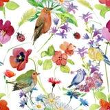 Abstrakcjonistyczna akwareli ręka malował tło z kwiatami i ptakami Obrazy Royalty Free