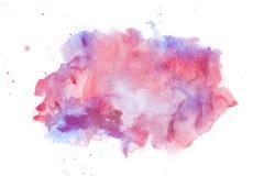 Abstrakcjonistyczna akwareli violette i czerwieni plama Fotografia Royalty Free