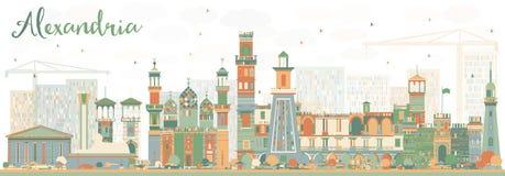 Abstrakcjonistyczna Aleksandria linia horyzontu z kolorów budynkami Fotografia Royalty Free