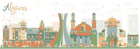 Abstrakcjonistyczna Algiers linia horyzontu z kolorów budynkami Obraz Royalty Free