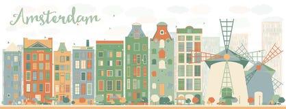 Abstrakcjonistyczna Amsterdam miasta linia horyzontu z kolorów budynkami Obrazy Stock