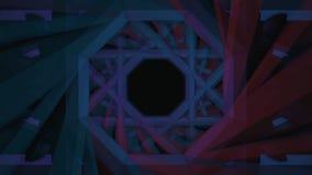 Abstrakcjonistyczna animacja futurystyczny geometrical tunel, geometryczna animacja na ciemnym tle animacja kolorowy ilustracji