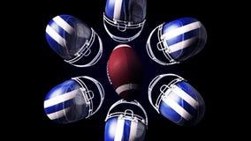Abstrakcjonistyczna animacja odosobniona rugby piłka hemlets i i, błękitni, biali ilustracja wektor
