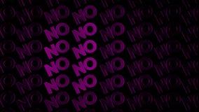 Abstrakcjonistyczna animacja udział purpury chromuje logotypy słowo poruszający na ciemnym tle «Nie « animacja Poj?cie ilustracja wektor