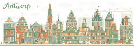 Abstrakcjonistyczna Antwerp linia horyzontu z kolorów budynkami Obraz Royalty Free