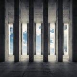 Abstrakcjonistyczna architektura 3d, pusty wnętrze z kolumnami Zdjęcie Royalty Free