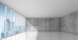 Abstrakcjonistyczna architektura, pusty wnętrze z betonowymi ścianami ilustracji