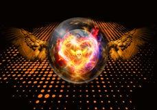 Abstrakcjonistyczna artystyczna 3d renderingu ilustracja nowożytny kolorowy unikalny ognisty serce w kryształowej kuli grafice royalty ilustracja