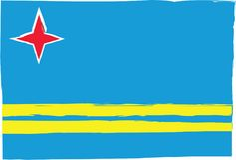 Abstrakcjonistyczna ARUBA flaga, sztandar lub Zdjęcia Stock