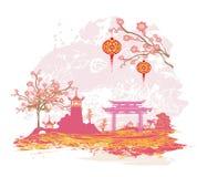 Abstrakcjonistyczna azjata krajobrazu karta ilustracja wektor