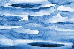 Abstrakcjonistyczna błękitna akwarela na papierowej teksturze jako tło Christm Zdjęcie Stock