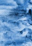 Abstrakcjonistyczna błękitna akwarela na papierowej teksturze jako tło Christm Obraz Royalty Free