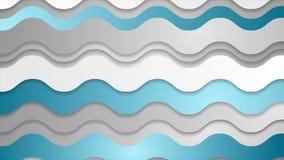 Abstrakcjonistyczna błękitna popielata futurystyczna falista wideo animacja ilustracji