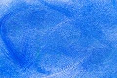 Abstrakcjonistyczna błękitna ręka rysujący akrylowego obrazu sztuki kreatywnie backgroun Fotografia Stock
