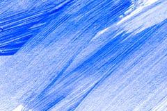 Abstrakcjonistyczna błękitna ręka rysujący akrylowego obrazu sztuki kreatywnie tło Zbliżenie strzelał brushstrokes kolorowa akryl Obrazy Stock