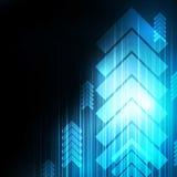 Abstrakcjonistyczna Błękitna strzała technologia komunikuje tło, i ilustracji