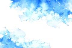 Abstrakcjonistyczna błękitna załzawiona rama Nadwodny tło Atramentu rysunek zdjęcia royalty free