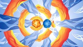 abstrakcjonistyczna błękitny rysunkowa pomarańcze Fotografia Royalty Free