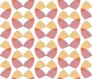 Abstrakcjonistyczna bezszwowa deseniowa czerwień i pomarańczowy fan kształtujemy Japońskiego styl ilustracji